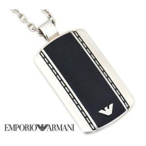 e510257e70f9 EMPORIO ARMANI エンポリオ アルマーニ EGS1921 アクセサリー イーグルロゴ プレート ブラック×シルバー ネックレス/ペンダント  EGS1921040 ...