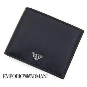 EMPORIO ARMANI エンポリオ アルマーニ 小銭入れ付 二つ折り財布 ブラック YEM122 YC91E 80001 NERO sekine