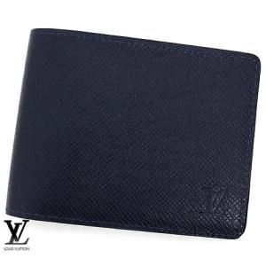 LOUIS VUITTON ルイ ヴィトン M30530 タイガ 小銭入れ無し メンズ 二つ折り財布 ポルトフォイユ・ミュルティプル ブルーマリーヌ|sekine