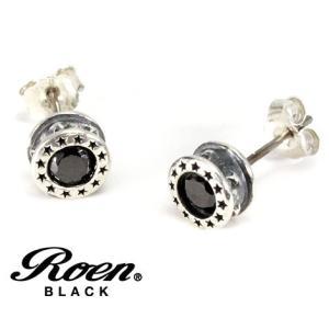 RoenBLACK ロエン ブラック RO-111 アクセサリー スター 星形 エトワール ラウンド スタッドピアス シルバー925 キュービックジルコニア シルバー×ブラック sekine