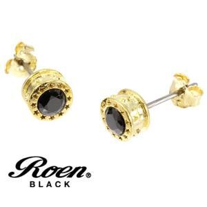 RoenBLACK ロエン ブラック RO-112 アクセサリー スター 星形 エトワール ラウンド スタッドピアス シルバー925 キュービックジルコニア ゴールド×ブラック sekine