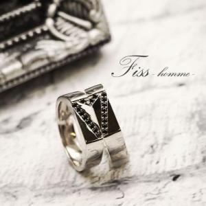 ペアリング Fiss-homme- メンズペアリング 28-6126-6127  男性ペア ブラックダイヤ 指輪 お揃い 無料刻印 プレゼント 記念日 誕生日 ペア カップル|select-alei