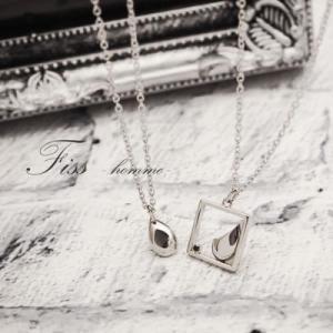 メンズペアネックレス Fiss-homme- 67-1835-1836 男性ペア ダイヤモンド ブラックダイヤ 指輪 お揃い 無料刻印 プレゼント 記念日 誕生日 ペア カップル|select-alei