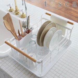 大容量の洗い物をすっきり干せるトレイ付きの水切りラック。 持ち手に布巾を干すことができます。 まな板...