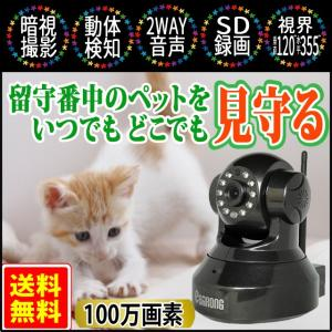 見守り ペットカメラ ペットモニター ベビーモニター 防犯カメラ 猫 セキュリティー IP スマホ WIFI 介護 高齢 遠隔操作 動体検知 赤外線 暗視 ブラック