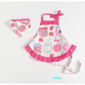 女の子用 キッズエプロン 三角巾 髪飾り付 保育園 幼稚園 小学生の餅つき 料理に最適