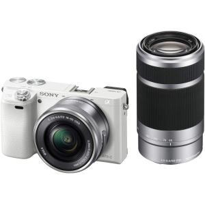 ソニー ミラーレス一眼 α6000 ダブルズームレンズキット E PZ 16-50mm F3.5-5.6 OSS + E 55-210mm F4.5-6.3 OSS ホワイト ILCE-6000Y W|select-shop-rainbow