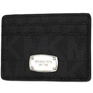 MICHAEL KORS マイケルコース アウトレット シグネチャー PVC レザー ジェット セット カード ケース  35T5SJSC1B BK|selectag