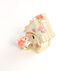 【ジュエリーボックス】【ミニチュア家具シリーズ】 バードハウス ジュエリーボックス EX4801 ピンク selectag