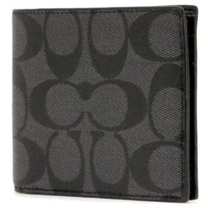 コーチ 財布 COACH アウトレット メンズ シグネチャーPVC  ダブルビル ウォレット 二つ折り財布 F75083 CQBK|selectag