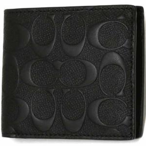 コーチ 財布  COACH アウトレット デボスド シグネチャー クロスグレーン レザー コイン ウォレット / 二つ折り財布  F75363 BLK|selectag