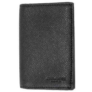 コーチ カードケース  COACH アウトレット バイフォールド クロスグレイン レザー メンズ カードケース F86763 BLK|selectag