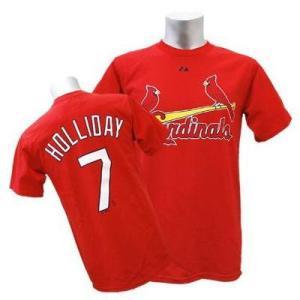 MLB カージナルス マット・ホリデー Tシャツ レッド マジェスティック Player Tシャツ  特別セール【0220価格変更】|selection-j