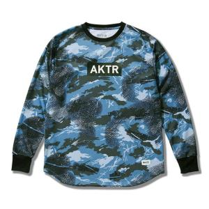 アクター/AKTR バウンス カモ ロングスリーブ スポーツ Tシャツ ブルー|selection-j