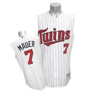MLB ツインズ ジョー・マウアー ユニフォーム オルタ-ホーム2/White-Sleeveless マジェスティック Authentic Player ユニフォーム|selection-j