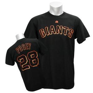 MLB ジャイアンツ バスター・ポージー Tシャツ ブラック マジェスティック Player Tシャツ【0220価格変更】|selection-j