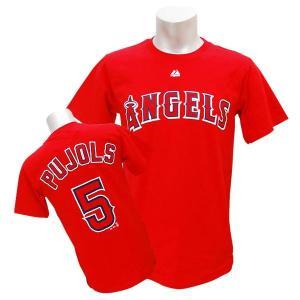 MLB エンゼルス アルバート・プホルス Tシャツ レッド マジェスティック Player Tシャツ【0220価格変更】|selection-j
