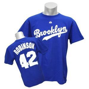 MLB ドジャース ジャッキー・ロビンソン Tシャツ ロイヤル マジェスティック Cooperstown Player Name & Number Tシャツ190806価格変更 selection-j
