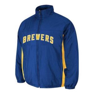 MLB ブリュワーズ オーセンティック ダブル クライメイト オンフィールド ジャケット マジェスティック/Majestic ブルー【1902MLBセール】|selection-j