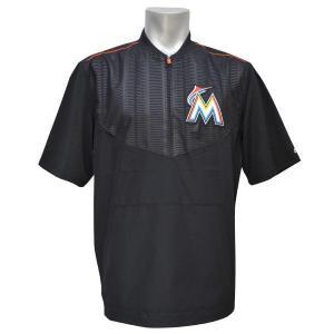 MLB マーリンズ ジャケット ブラック マジェスティック 2015 On-Field ショート Sleeve Training ジャケット【1902MLBセール】|selection-j