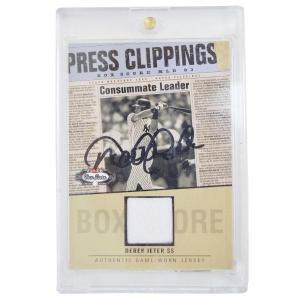 MLB ヤンキース デレク・ジーター 直筆サイン入りベースボールカード FLEER ユニフォーム Card With Sign selection-j