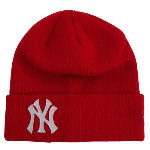 MLB ヤンキース ベーシック カフ ニットキャップ/帽子 ニューエラ/New Era スカーレット|selection-j