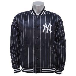 MLB ヤンキース ストライプ サテンジャケット マジェスティック/Majestic ブラック|selection-j