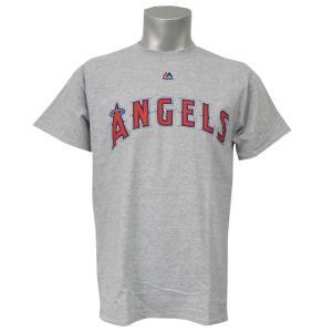 MLB エンゼルス オフィシャル ロード ワードマーク Tシャツ マジェスティック/Majestic グレー|selection-j