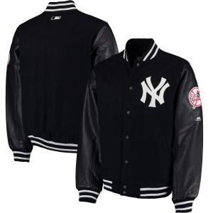 お取り寄せ MLB ヤンキース ジャケット/アウター 選手着用 モデル バーシティ ジャケット マジェスティック/Majestic ネイビー|selection-j