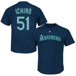 MLB(メジャーリーグ) マリナーズ イチロー プレイヤー Tシャツ 半袖 マジェスティック/Majestic ネイビー selection-j