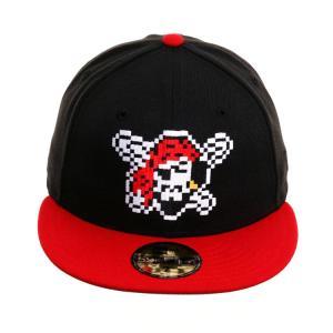 MLB パイレーツ キャップ/帽子 エクスクルーシブ  59Fifty   ピクセル  ニューエラ/New Era ブラック/レッド|selection-j