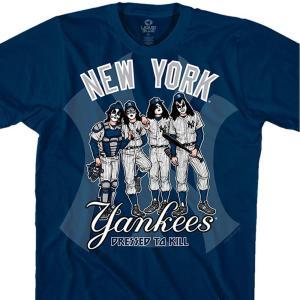 MLB ニューヨーク・ヤンキース Tシャツ KISS コラボ ドレス トゥ キル ネイビー selection-j