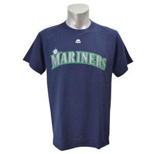 MLB マリナーズ Tシャツ ネイビー マジェスティック New Wordmark Tシャツ|selection-j