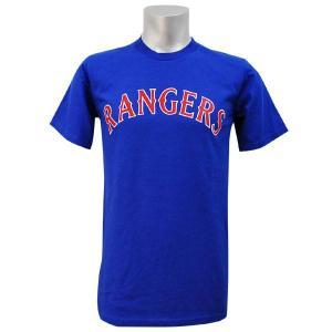 MLB レンジャーズ Tシャツ Blue Rangers マジェスティック Wordmark Tシャツs|selection-j