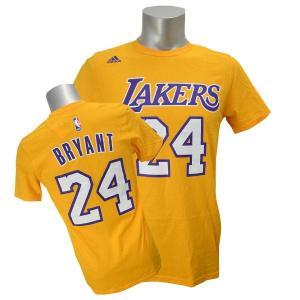 NBA レイカーズ コービー・ブライアント Tシャツ ゴールド アディダス NET NUMBER Tシャツ selection-j