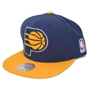 NBA ペイサーズ キャップ/帽子 ネイビー/ゴールド ミッチェル&ネス Current XL Logo 2 Tone Snapback キャップ【1802セール】|selection-j