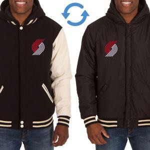 NBA トレイルブレイザーズ リバーシブル フリース フェイクレザー ジャケット/ジャンパー JH デザイン/JH Design ブラック/クリーム|selection-j