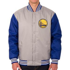 NBA ウォリアーズ ポリツイル ロゴ ジャケット/ジャンパー JH デザイン/JH Design グレー/ロイヤル|selection-j