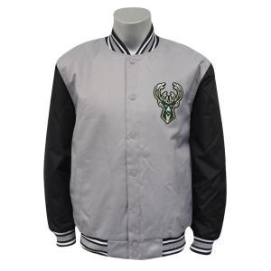 NBA バックス ポリツイル ロゴ ジャケット/ジャンパー JH デザイン/JH Design グレー/ブラック|selection-j