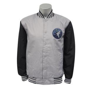 NBA ティンバーウルブズ ポリツイル ロゴ ジャケット/ジャンパー JH デザイン/JH Design グレー/ブラック|selection-j