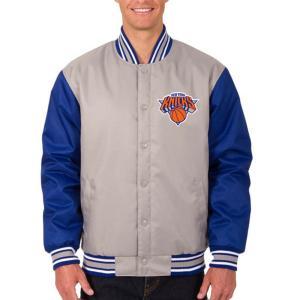 NBA ニックス ポリツイル ロゴ ジャケット/ジャンパー JH デザイン/JH Design グレー/ロイヤル|selection-j