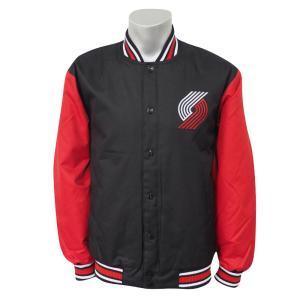 NBA トレイルブレイザーズ ポリツイル ロゴ ジャケット/ジャンパー JH デザイン/JH Design ブラック/レッド|selection-j