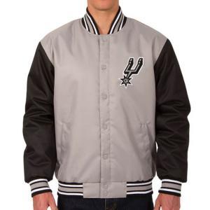 NBA スパーズ ポリツイル ロゴ ジャケット/ジャンパー JH デザイン/JH Design グレー/ブラック|selection-j