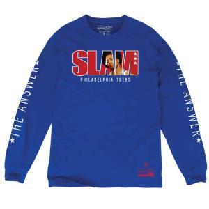 NBA 76ers アレン・アイバーソン ロングTシャツ SLAM/スラム 表紙ロゴ Mitchell & Ness ロイヤル|selection-j