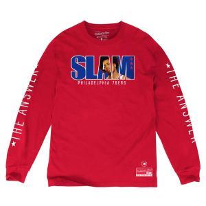 NBA 76ers アレン・アイバーソン ロングTシャツ SLAM/スラム 表紙ロゴ Mitchell & Ness レッド|selection-j