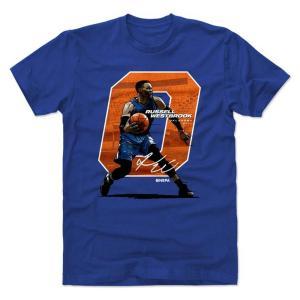 NBA サンダー ラッセル・ウェストブルック Tシャツ プレーヤー アート オフセット 500Level ロイヤルブルー selection-j