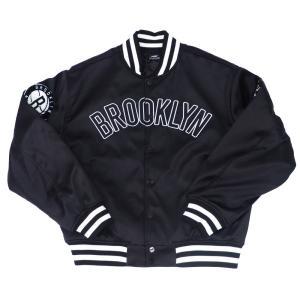 NBA スタジャン ブルックリン・ネッツ ジャケット アウター シティー PRO STANDARD ブラック