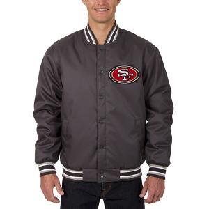 お取り寄せ NFL 49ers メンズ ポリツイル ジャケット JH デザイン/JH Design チャコール selection-j
