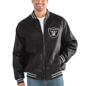 お取り寄せ NFL レイダース スティッフ アーム プレザー バーシティー ジャケット G-III ブラック selection-j