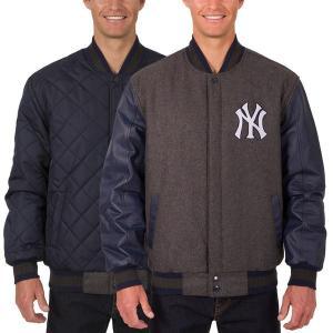 お取り寄せ MLB ヤンキース ウール レザー リバーシブル フルスナップ ジャケット JH デザイン/JH Design チャコール/ネイビー|selection-j